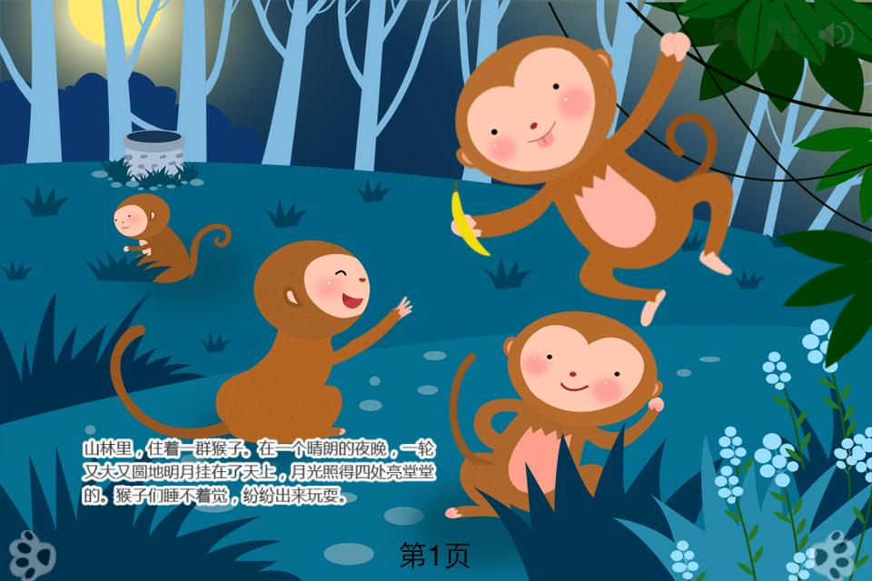 The moon is in the well. 糟了,月亮掉在井里头了! A group of monkeys run over to the well . 一群猴子跑到井边来, They look at the moon in the well and shout: 他们看到井里的月亮,喊道: The moon did fall into the well!Come on!Letget it out! 月亮掉在井里头啦!快来!让我们把它捞起来! Then,the oldest mon